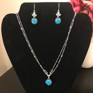 Cushion Cut Jewel Necklace & Earring Set